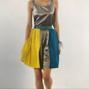 3 panel silk full skirt with embroidered waistband